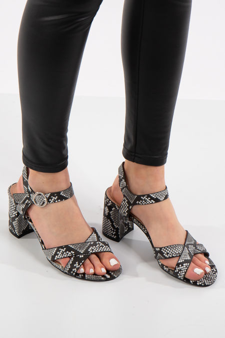 Blair Black Snake Print Sandals