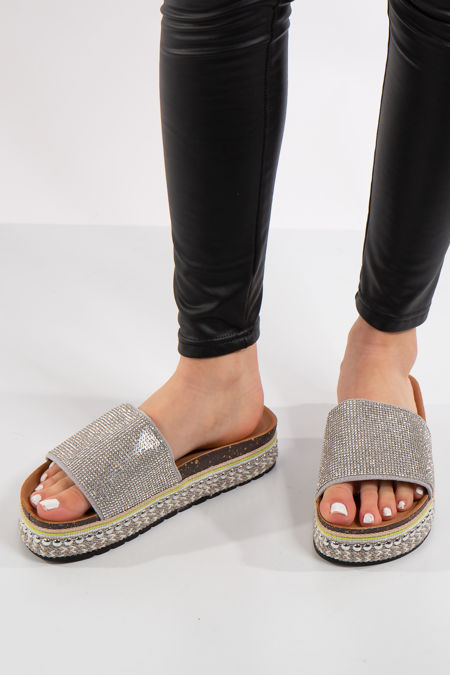 Liana Silver Diamante Aztec Stud Flatform Sandals