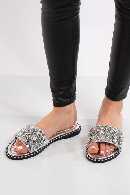 Elisa Silver Large Jewel Strap Sliders