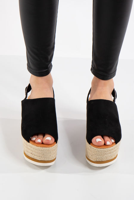Allyson Black Flatform Espadrilles