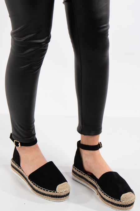 Melany Black Flatform Espadrille Sandals