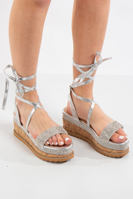 Ashlynn Silver Diamanté Platform Sandals