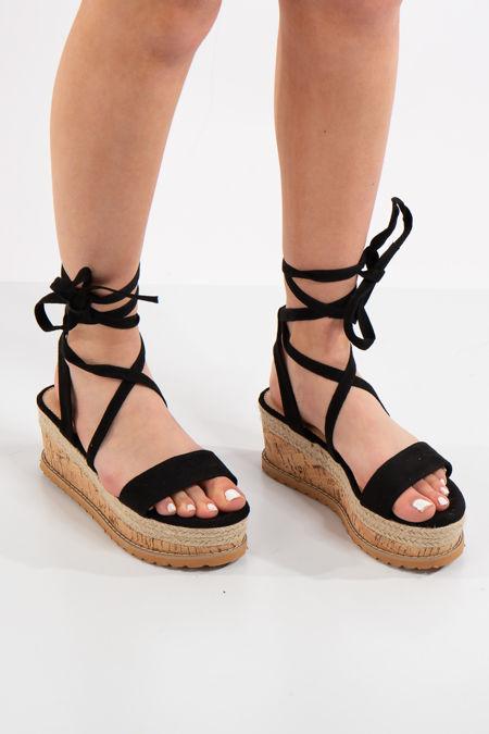 Adelina Black Flatform Sandals