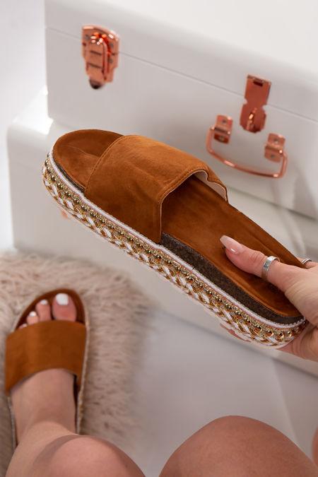 Melany Camel Faux Suede Aztec Stud Flatform Sandals