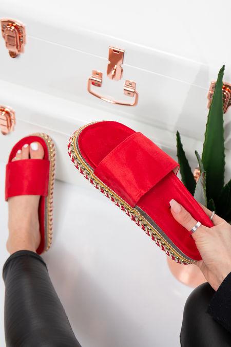 Melany Red Faux Suede Aztec Stud Flatform Sandals