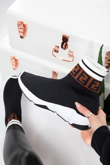 Paris Black Printed Stretch Knit High Top Sock Trainers