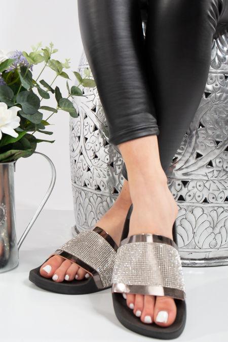Bethany Black with Silver Diamante Metallic Strap Sliders