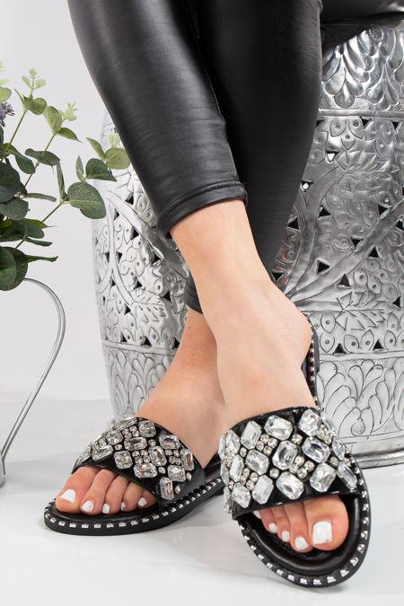 Elisa Black Large Jewel Strap Sliders