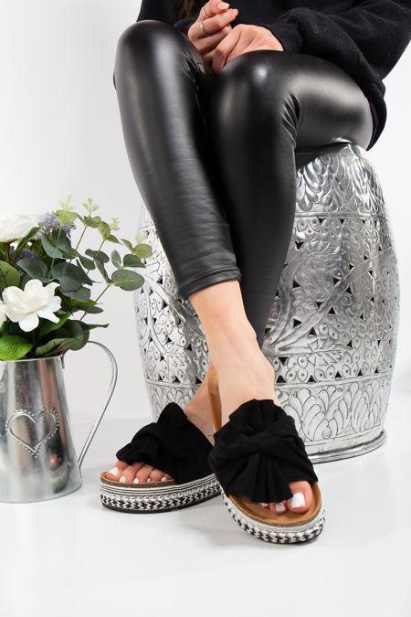 Nia Black Bow Aztec Stud Flatform Sandals