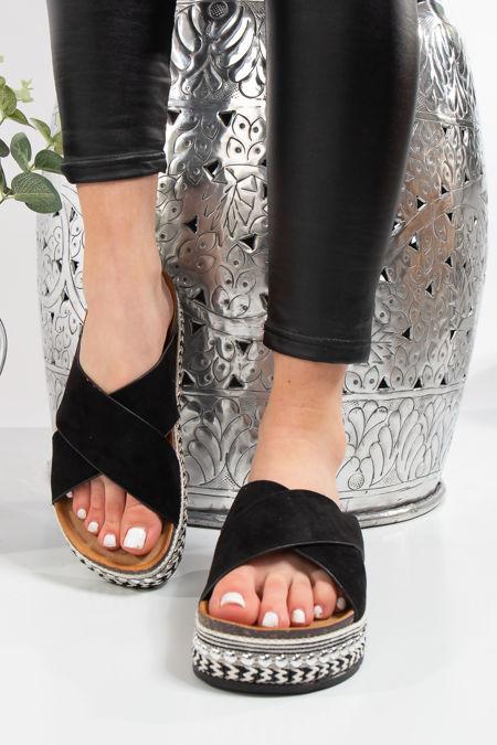 Liana Berk Black Cross Over Aztec Stud Flatform Sandals