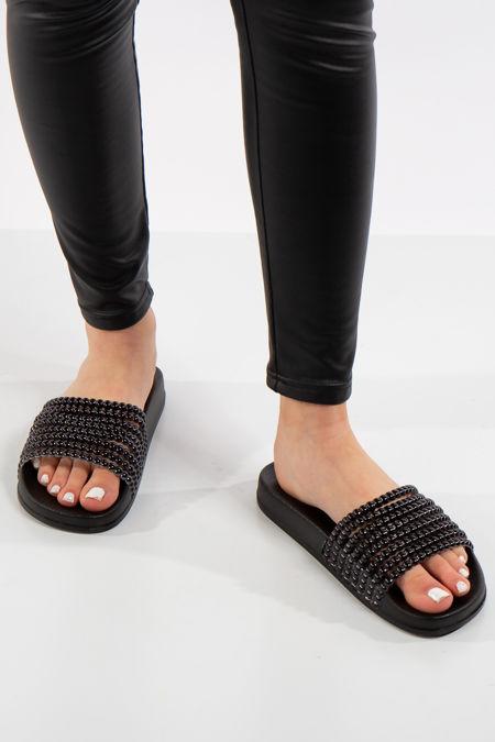 Holly Black Bead Look Metallic Sliders