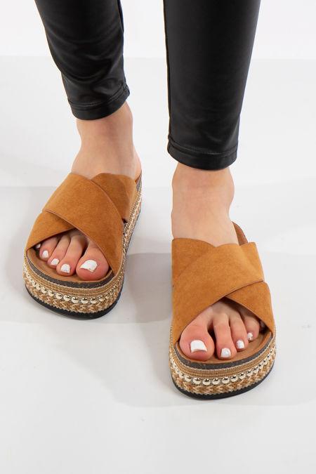 Berk Camel Cross Over Aztec Stud Flatform Sandals