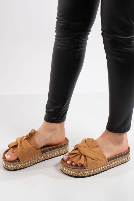 Nia Camel Bow Aztec Stud Flatform Sandals