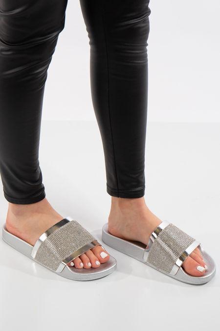 Bethany Silver Diamante Metallic Strap Sliders