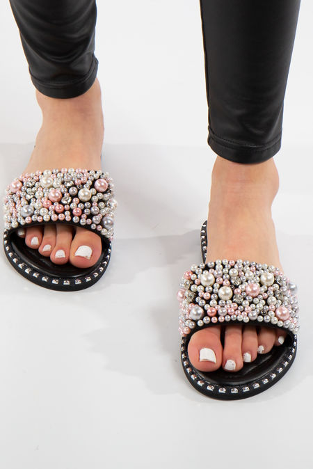 edfec0bff4bc Ashlynn Black Diamanté Platform Sandals · Janelle Black Pearl Strap Sliders