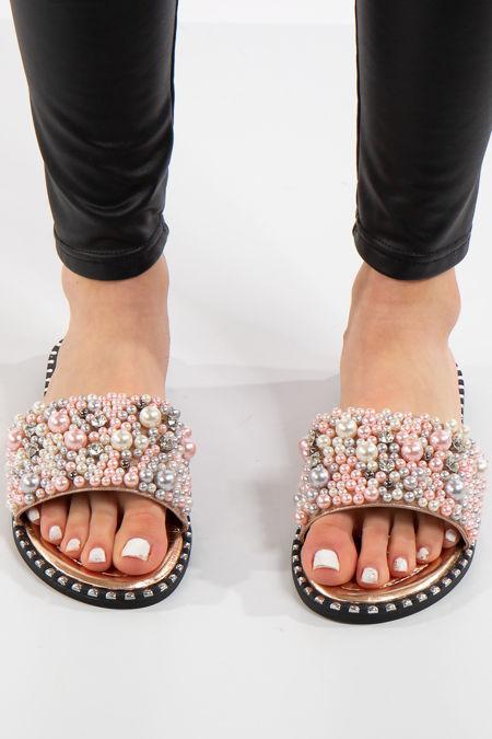 Janella Rose Gold Pearl Strap Sliders