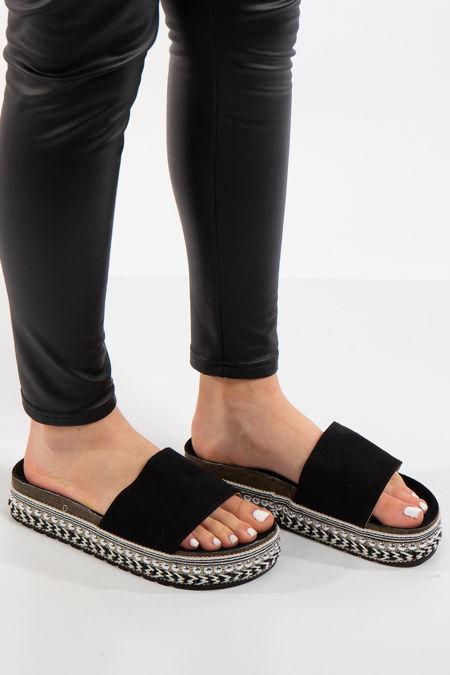 Melany Black Faux Suede Aztec Stud Flatform Sandals