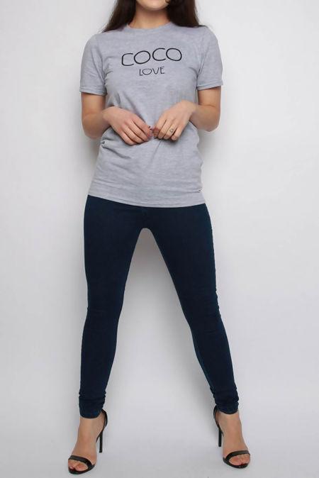 Zehira Grey COCO Slogan Oversized T-shirt