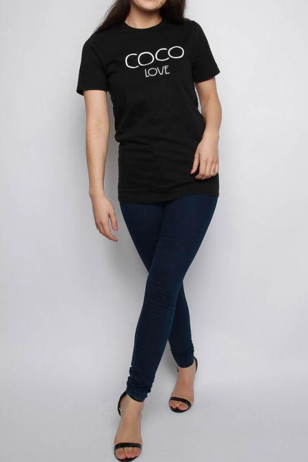 Zehira Black COCO Slogan Oversized T-shirt