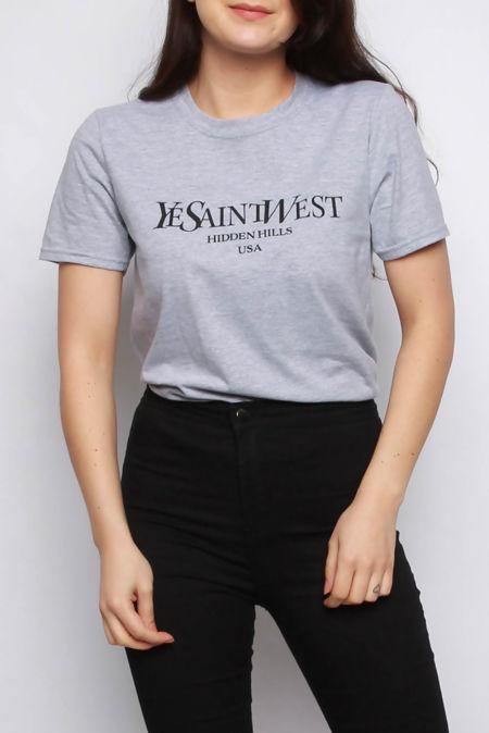 Elaina Grey Ye Saint West Slogan Oversized T-shirt