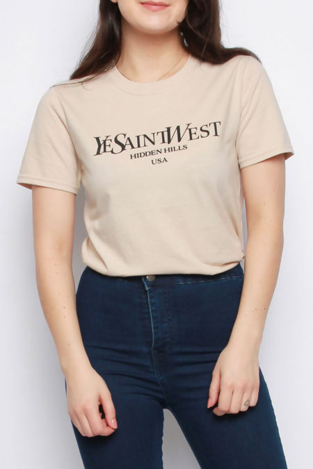 Elaina Beige Ye Saint West Slogan Oversized T-shirt