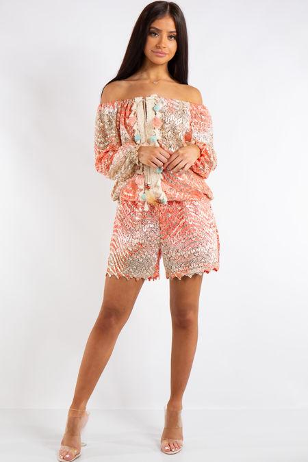 Kimber Coral Crochet Metallic Tassel Shorts Co-Ord set