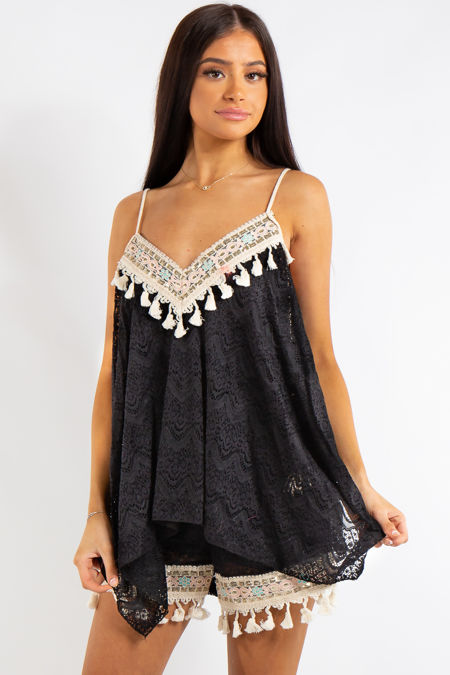 f9e0b5ebd9d5 Anika Black Lace Rope Strap Loose Tassel Crochet Top and Matching Shorts Co  Ord Set