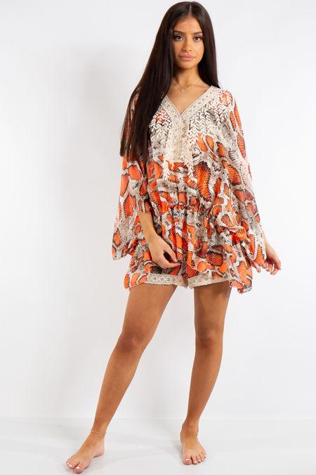 Adley Orange Neon Snake Print Chiffon Batwing Matching Shorts Co Ord Set