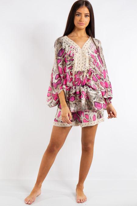 Adley Pink Neon Snake Print Chiffon Batwing Matching Shorts Co Ord Set