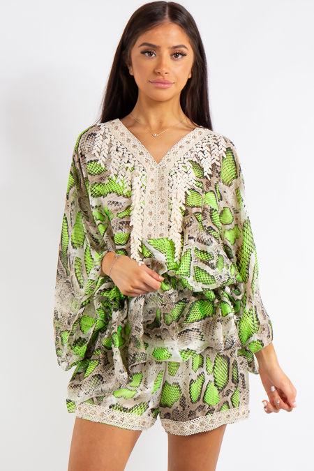 Adley Green Neon Snake Print Chiffon Batwing Matching Shorts Co Ord Set