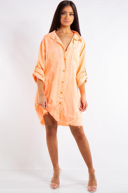 Kelly Neon Orange Sequin Angel Wings Detail Shirt Dress