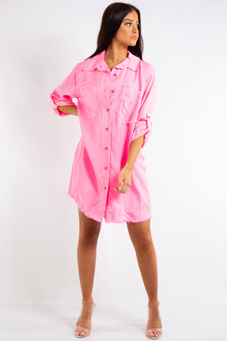 Kelly Neon Pink Sequin Angel Wings Detail Shirt Dress