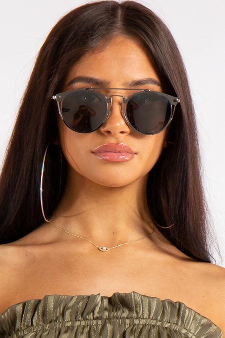 Sloan Black Silver Frame Aviator Sunglasses