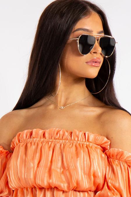 Cassandra Classic Black Mirrored Aviator Sunglasses