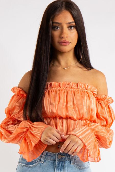 Laurel Orange Bandeau Chiffon Strip Metallic Detail Ruffle Crop Top