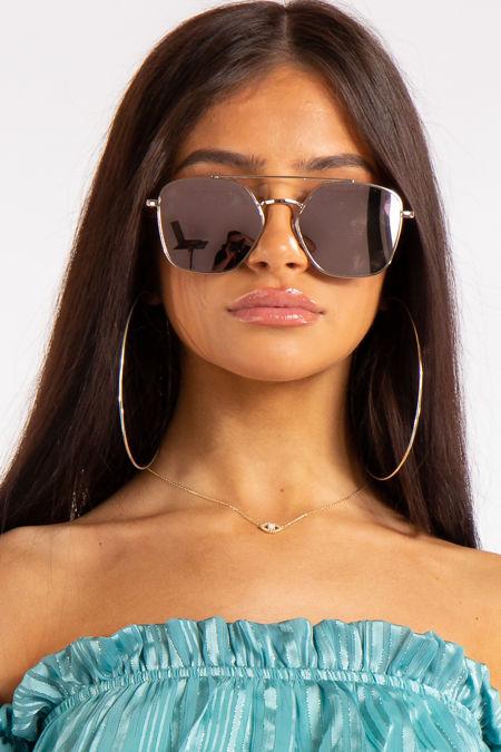 Hayley Rose Gold Mirrored Aviator Sunglasses