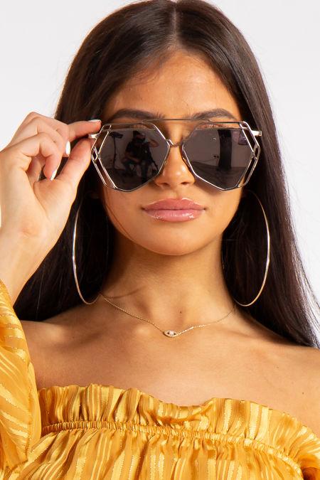 Rebekah Gold Bar Rose Pentagon Bar Aviator Sunglasses