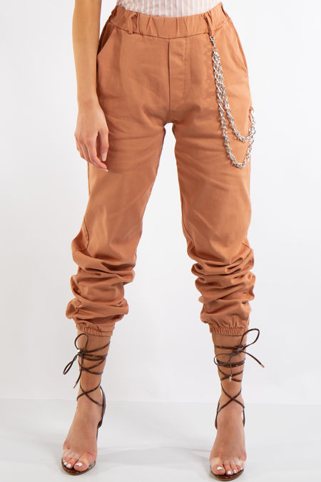 Skyla Camel Jogger Cargo Trousers