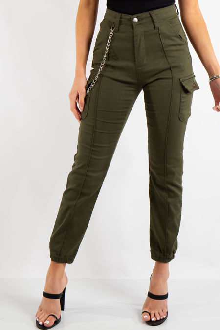 Kim Khaki Cargo Chain Trousers