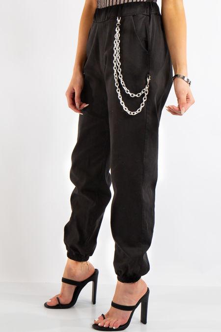 Skyla Black Jogger Cargo Trousers