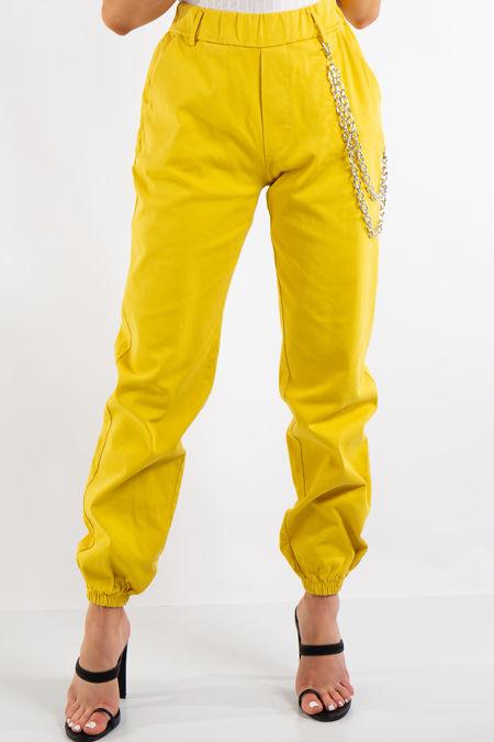 Skyla Yellow Jogger Cargo Trousers