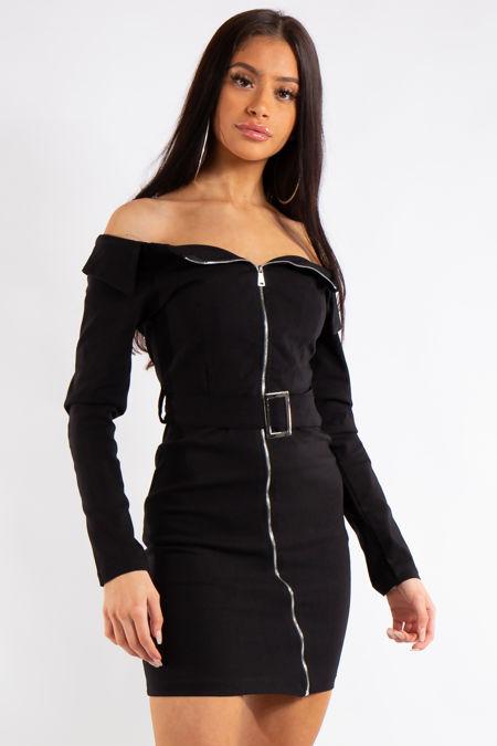 Gloria Black Bardot Zip Belt Dress