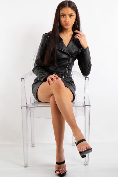 Addyson Black Biker PU dress