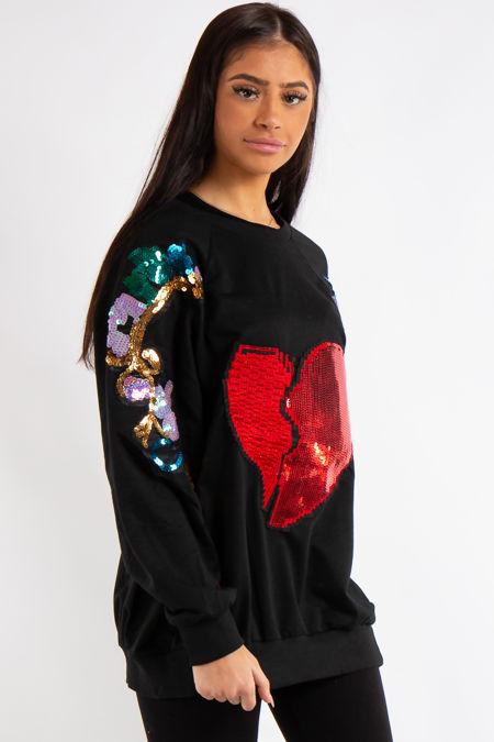 f16e6a04fce Edith Black Heart Sequin Slogan Sleeve Oversized Sweatshirt