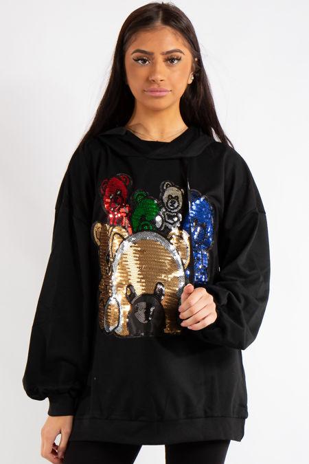 Mosh Black Teddy Bear Sequin Slogan Oversized Hoodie
