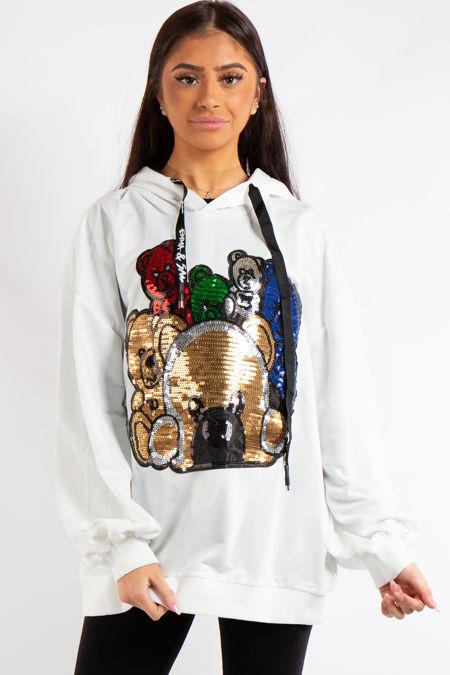 Mosh White Teddy Bear Sequin Slogan Oversized Hoodie