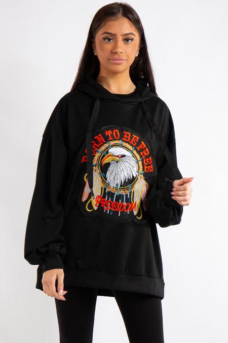 Itzel Black Eagle Badge Slogan Oversized Hoodie