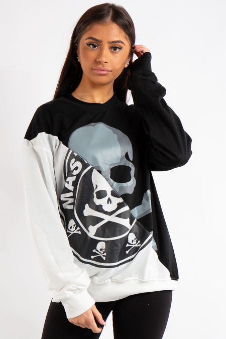 Cataleya Black & White Skull Slogan Monochrome Sweatshirt