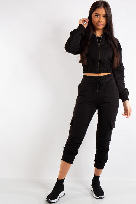 6ce45616ace3 Mira Black Crop Zip Top and Cargo Pants Loungewear set