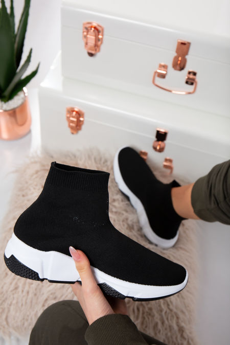Milan White/Black sole Stretch Black Knit High Top Sock Trainers